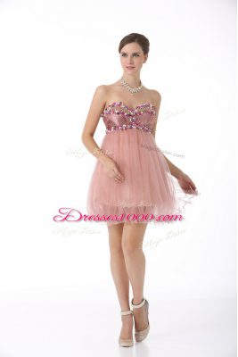Charming Pink Sleeveless Mini Length Beading Zipper