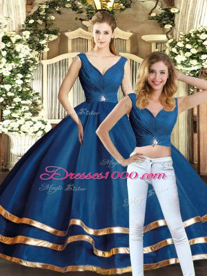 Graceful Navy Blue Tulle Backless V-neck Sleeveless Floor Length Quinceanera Gown Beading and Ruffled Layers