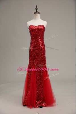 Extravagant Mermaid Homecoming Dress Red Sweetheart Tulle and Sequined Sleeveless Floor Length Zipper