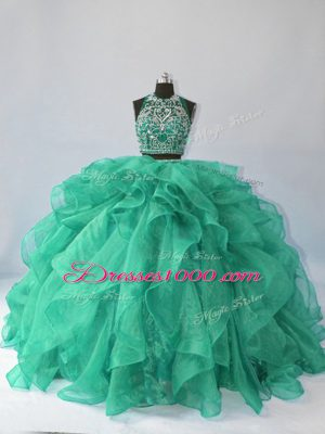 Turquoise Ball Gowns Organza Halter Top Sleeveless Beading and Ruffles Backless Ball Gown Prom Dress Brush Train