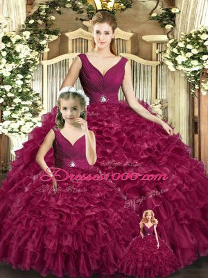 Colorful Burgundy Backless V-neck Beading and Ruffles Ball Gown Prom Dress Organza Sleeveless