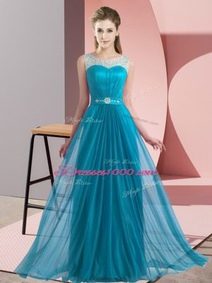 Teal Lace Up Scoop Beading Bridesmaid Dresses Chiffon Sleeveless