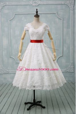 Beauteous White Ball Gowns Lace V-neck Short Sleeves Lace and Belt Tea Length Zipper Wedding Gown