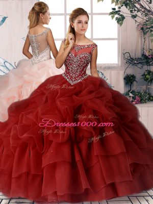 Best Wine Red Scoop Neckline Beading and Pick Ups Ball Gown Prom Dress Sleeveless Zipper