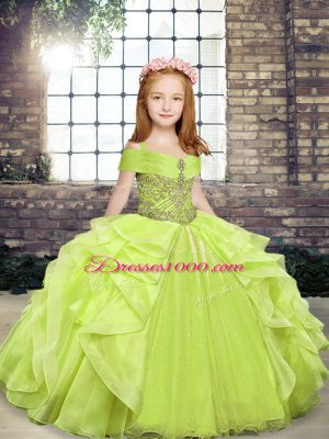 Floor Length Yellow Green Kids Formal Wear Organza Sleeveless Beading and Ruffles