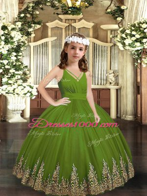 Olive Green Ball Gowns V-neck Sleeveless Tulle Floor Length Zipper Appliques Kids Formal Wear