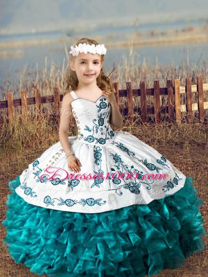 Organza Straps Sleeveless Lace Up Embroidery and Ruffles Pageant Dresses in Teal