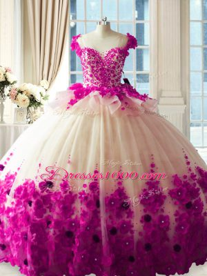 Beautiful Fuchsia Scoop Neckline Hand Made Flower Sweet 16 Quinceanera Dress Sleeveless Zipper