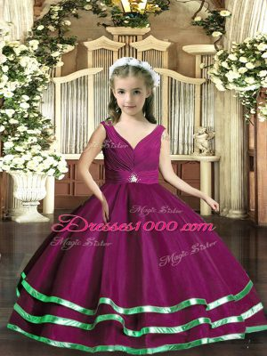 New Arrival Purple Ball Gowns Beading and Ruching Little Girl Pageant Dress Backless Organza Sleeveless Floor Length