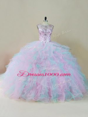 Floor Length Lace Up 15 Quinceanera Dress Multi-color for Sweet 16 and Quinceanera with Beading and Ruffles