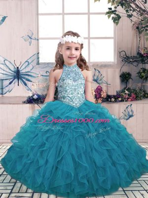 Excellent Teal Ball Gowns Tulle Halter Top Sleeveless Beading and Ruffles Floor Length Lace Up Party Dress for Toddlers