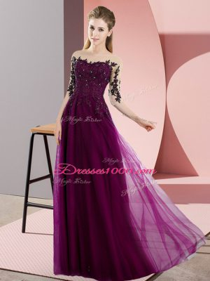 Best Selling Fuchsia Bateau Lace Up Beading and Lace Dama Dress Half Sleeves