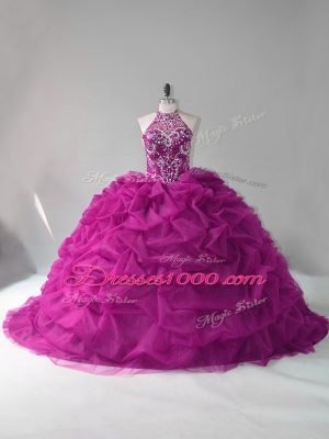 Vintage Sleeveless Beading and Pick Ups Lace Up Quinceanera Dresses with Fuchsia