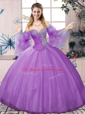 Lavender Ball Gowns Sweetheart Long Sleeves Tulle Floor Length Lace Up Beading Sweet 16 Dresses