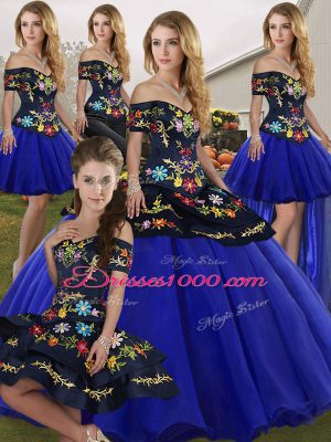 New Arrival Royal Blue Sleeveless Floor Length Embroidery Lace Up Sweet 16 Quinceanera Dress