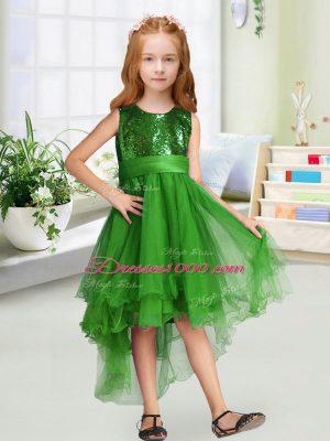 Luxurious Scoop Sleeveless Zipper Flower Girl Dress Green Organza
