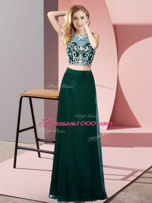 Scoop Sleeveless Prom Dress Floor Length Beading Peacock Green Chiffon