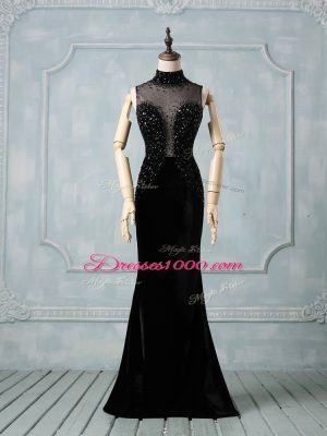 Sophisticated Black High-neck Neckline Beading Prom Evening Gown Sleeveless Zipper