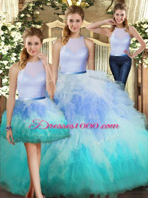 Most Popular Multi-color Three Pieces High-neck Sleeveless Tulle Floor Length Backless Ruffles Ball Gown Prom Dress