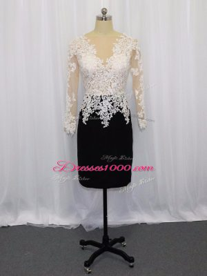 White And Black Satin Zipper Prom Party Dress Long Sleeves Mini Length Lace
