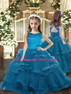 Custom Designed Scoop Sleeveless Tulle Little Girl Pageant Gowns Ruffled Layers Lace Up