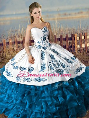 Custom Design Floor Length Ball Gowns Sleeveless Blue And White 15 Quinceanera Dress Lace Up