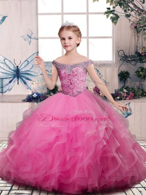 Cheap Pink Kids Formal Wear Party and Sweet 16 and Wedding Party with Beading and Ruffles V-neck Sleeveless Lace Up