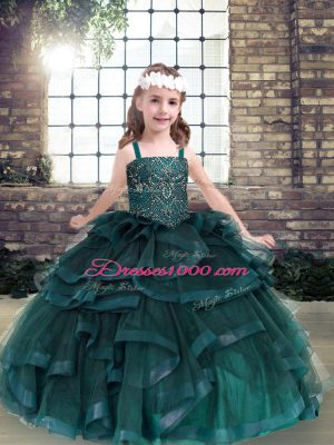 Amazing Peacock Green Sleeveless Tulle Lace Up Little Girls Pageant Dress Wholesale for Party and Military Ball and Wedding Party