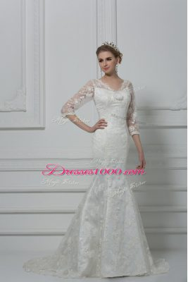 Gorgeous White Mermaid Lace and Hand Made Flower Wedding Dress Lace Up Lace 3 4 Length Sleeve
