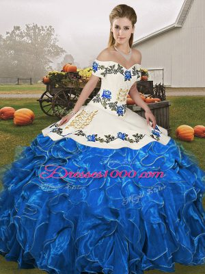Dazzling Organza Off The Shoulder Sleeveless Lace Up Embroidery and Ruffles 15 Quinceanera Dress in Blue And White