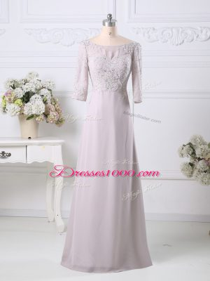 3 4 Length Sleeve Chiffon Floor Length Zipper in Pink with Beading and Embroidery