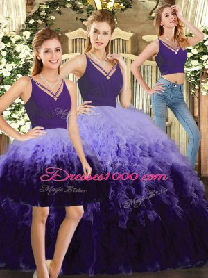 Stunning Multi-color 15 Quinceanera Dress Sweet 16 and Quinceanera with Ruffles V-neck Sleeveless Backless
