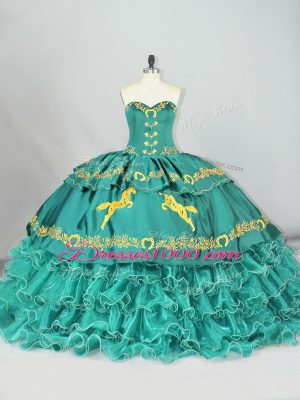 Beauteous Turquoise Sleeveless Embroidery and Ruffled Layers Lace Up Quinceanera Dresses