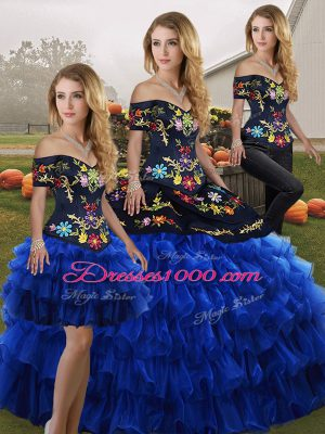 Blue And Black Three Pieces Organza Off The Shoulder Sleeveless Embroidery and Ruffled Layers Floor Length Lace Up Quinceanera Dresses
