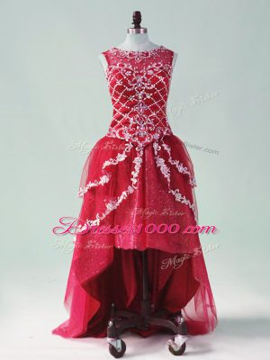 Sleeveless High Low Beading and Appliques Zipper Junior Homecoming Dress with Wine Red