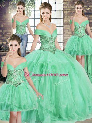 High Class Sleeveless Lace Up Floor Length Beading and Ruffles Quinceanera Dress