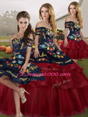 Wine Red Ball Gowns Embroidery and Ruffled Layers 15 Quinceanera Dress Lace Up Tulle Sleeveless