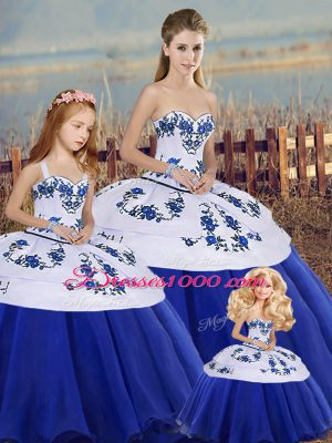 Royal Blue Ball Gowns Tulle Sweetheart Sleeveless Embroidery and Bowknot Floor Length Lace Up 15th Birthday Dress