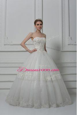 Sleeveless Beading and Lace Lace Up Wedding Dresses