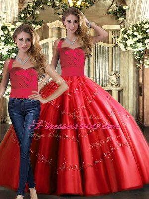 Exquisite Tulle Halter Top Sleeveless Lace Up Appliques Sweet 16 Dresses in Red