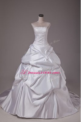 Lovely White Taffeta Lace Up Wedding Gowns Sleeveless Brush Train Embroidery and Pick Ups