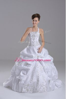 Inexpensive White Taffeta Lace Up Halter Top Sleeveless Wedding Dress Brush Train Beading and Embroidery and Pick Ups