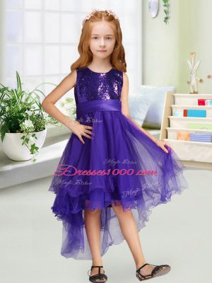Purple A-line Scoop Sleeveless Organza High Low Zipper Sequins and Bowknot Flower Girl Dresses for Less