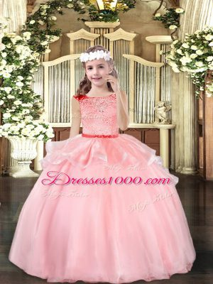 Floor Length Baby Pink Casual Dresses Scoop Sleeveless Zipper