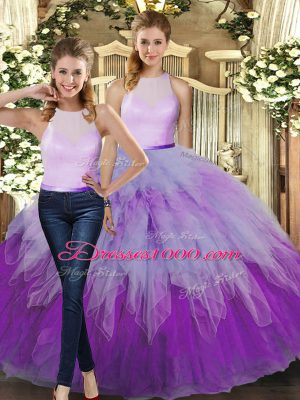 New Style Organza High-neck Sleeveless Backless Ruffles Quinceanera Dress in Multi-color