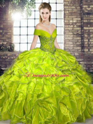 Sophisticated Olive Green Organza Lace Up Ball Gown Prom Dress Sleeveless Floor Length Beading and Ruffles