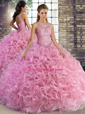 Fancy Fabric With Rolling Flowers Sleeveless Floor Length Quince Ball Gowns and Beading