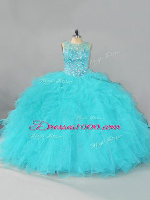 Custom Fit Aqua Blue Lace Up Quinceanera Gown Beading and Ruffles Sleeveless Floor Length