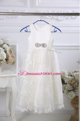 Modern White Empire Scoop Sleeveless Tulle Floor Length Zipper Beading and Lace Flower Girl Dresses