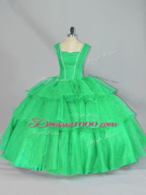Custom Fit Floor Length Turquoise Quinceanera Dresses Straps Sleeveless Lace Up